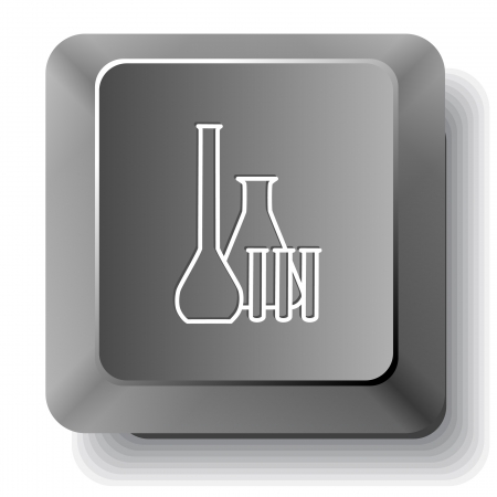 Chemical test tubes  Vector computer key  photo
