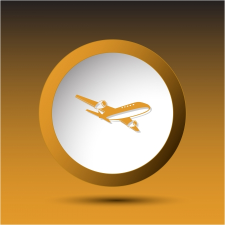 incurved: Airliner. Plastic button. Vector illustration.