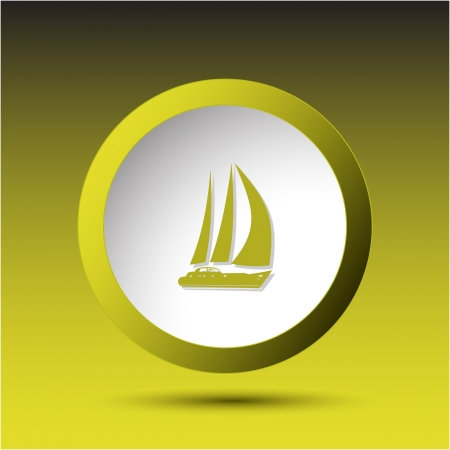 incurved: Yacht. Plastic button. Vector illustration. Stock Photo