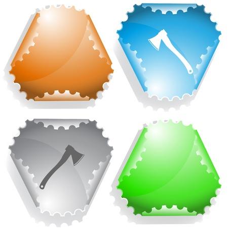 declinate: Axe. Vector sticker. Stock Photo