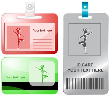 yogi: Ethnic little man as yogi. Vector id cards. Stock Photo