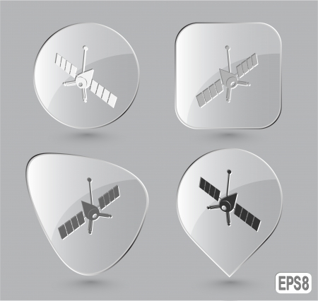 Spaceship. Glass buttons. Vector illustration. illustration