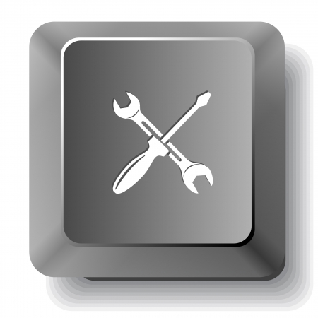 Screwdriver and spanner. Vector computer key. Stock Photo - 17718758