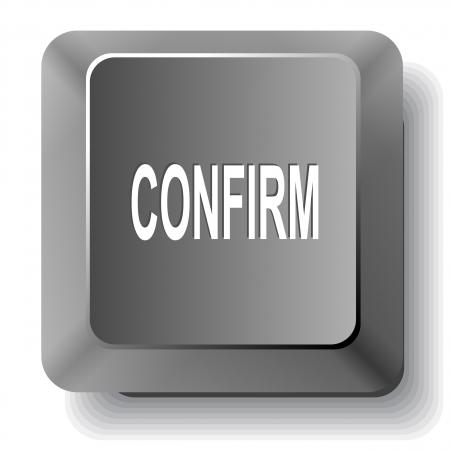 confirm: Confirm. Vector computer key.