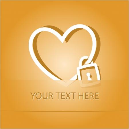 Closed heart. Paper sticker as bookmark. Vector illustration. Eps10. Stock Illustration - 17718770