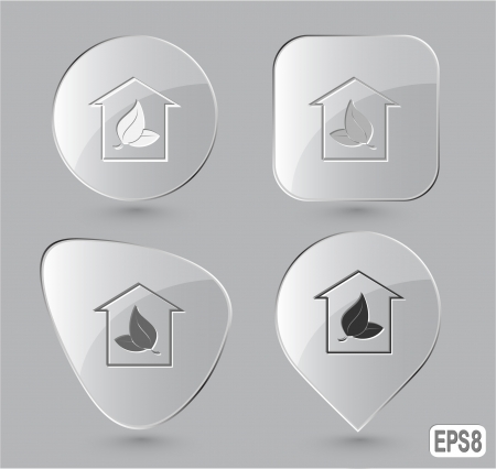 Protection of nature. Glass buttons. Vector illustration. illustration