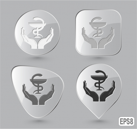 health in hands. Glass buttons. Vector illustration. illustration