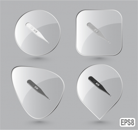 Thermometer. Shows 40 degrees Celsius. Glass buttons. Vector illustration. Stock Illustration - 17833496