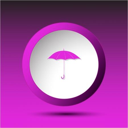 incurved: Umbrella. Plastic button. Vector illustration. Stock Photo