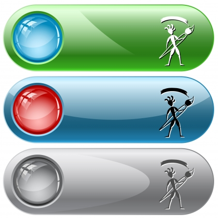 Ethnic little man with brush. Vector internet buttons. photo