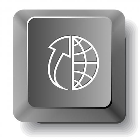 Globe and array up. Vector computer key. Stock Photo - 17833495