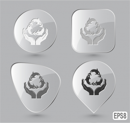 Protection nature. Glass buttons. Vector illustration. illustration