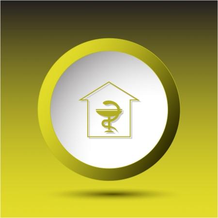 Pharmacy. Plastic button. Vector illustration.