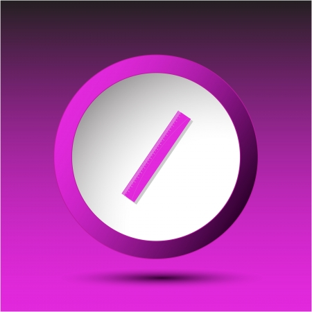 incurved: Ruler. Plastic button. Vector illustration. Stock Photo