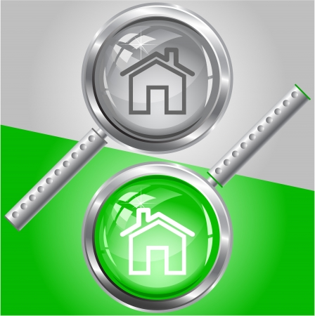 Home. Vector magnifying glass. Stock Photo - 17918978