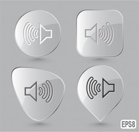 sonic: Loudspeaker. Glass buttons. Vector illustration.