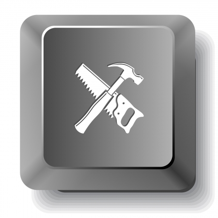 Hand saw and hammer. Vector computer key. photo