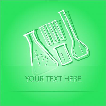 Chemical test tubes. Paper sticker as bookmark. Vector illustration. Stock Illustration - 17918898