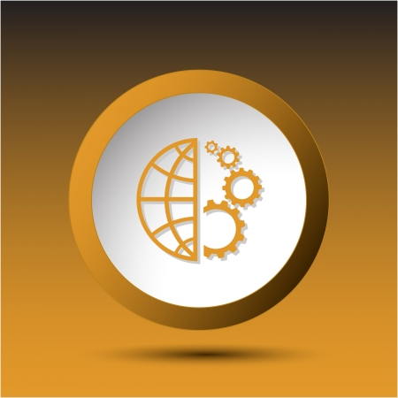Globe and gear. Plastic button. Vector illustration. illustration