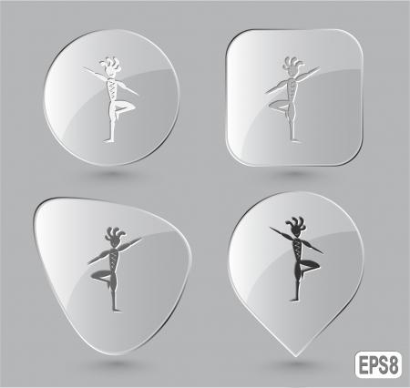 yogi: Ethnic little man as yogi. Glass buttons. Vector illustration. Stock Photo