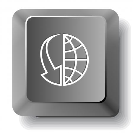 Globo y matriz hacia abajo. Vector tecla de la computadora. photo