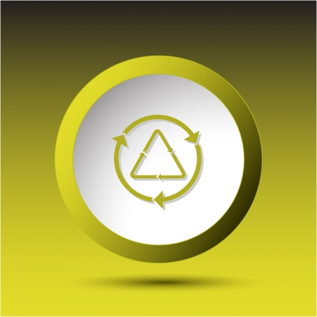 Recycle symbol. Plastic button.  illustration. Stock Illustration - 18405452