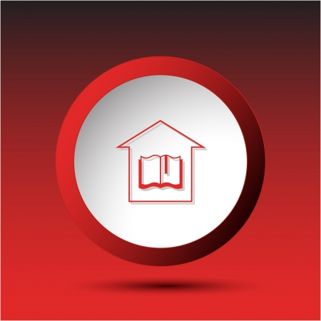 Library. Plastic button.  illustration. illustration