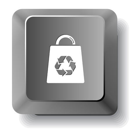 Bag with recycle symbol.  computer key. Stock Photo - 18418255