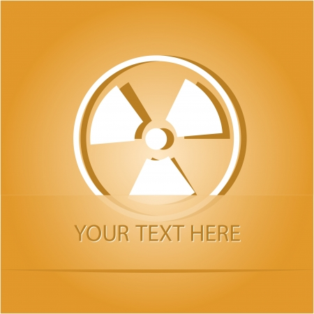 Radiation symbol. Paper sticker as bookmark.  illustration.   illustration