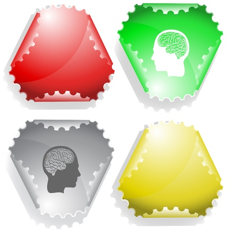 declinate: Human brain. sticker.
