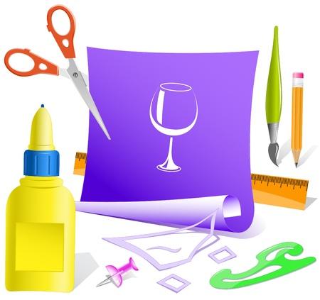 pva: Goblet. Paper template. Raster illustration.