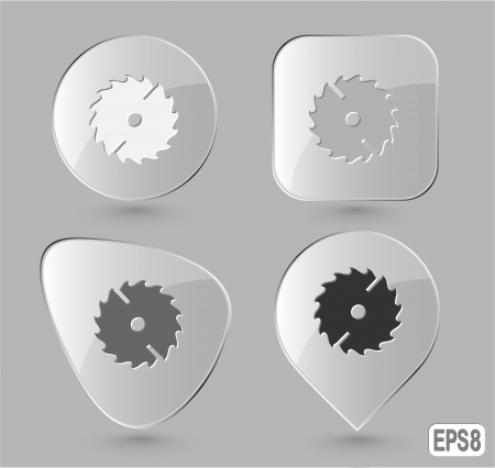 Circ saw. Glass buttons. Vector illustration.