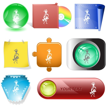 percussionist: Ethnic little man with drum. Vector internet buttons. Stock Photo