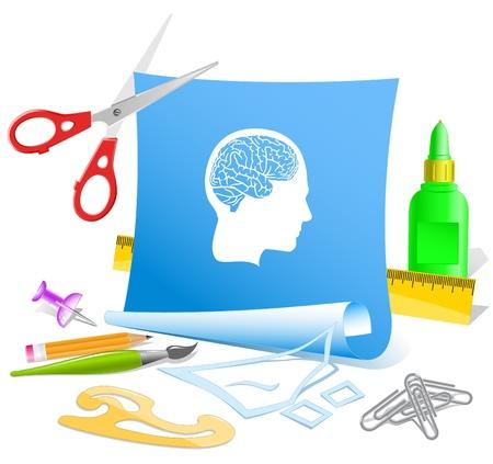pva: Human brain. Paper template. Raster illustration.