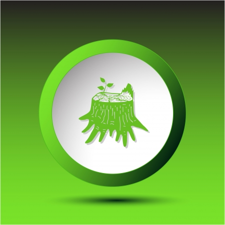 incurved: Stub. Plastic button. illustration.