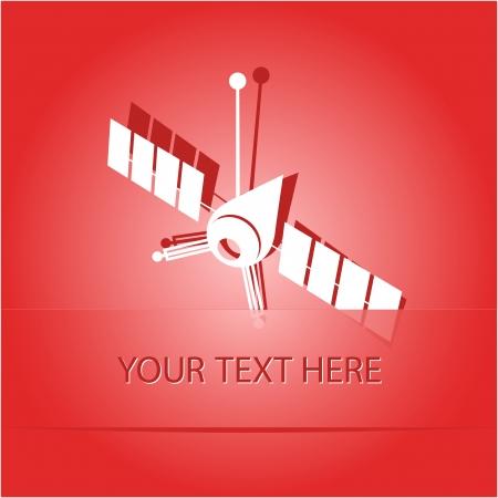 artificial satellite: Spaceship. Paper sticker as bookmark. illustration.
