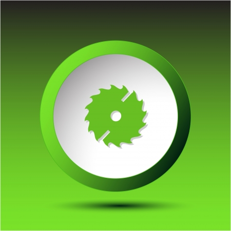 Circ saw. Plastic button. Vector illustration. Stock Photo