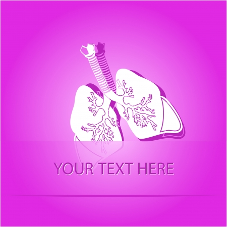 Lungs. Paper sticker as bookmark. Vector illustration.