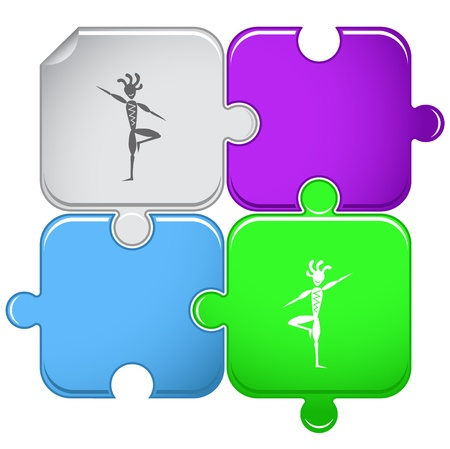 yogi: Ethnic little man as yogi. Vector puzzle. Stock Photo