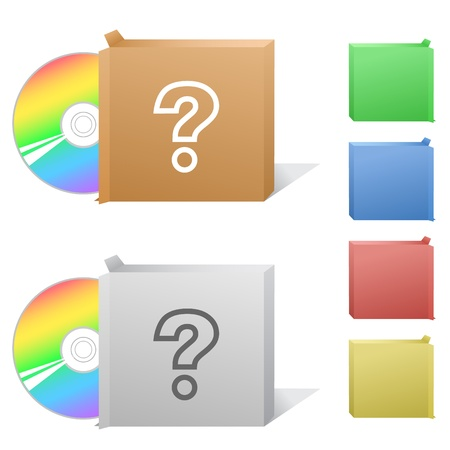 interrogative: Query. Box with compact disc.