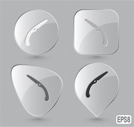 Hand saw. Glass buttons. Vector illustration. illustration