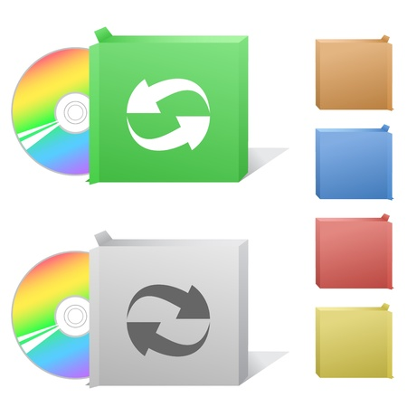 Recycle symbol. Box with compact disc. photo