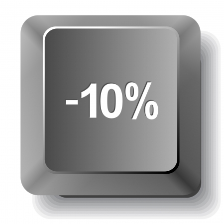-10%. Vector computer key. photo
