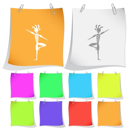 Ethnic little man as yogi. Vector note papers. photo