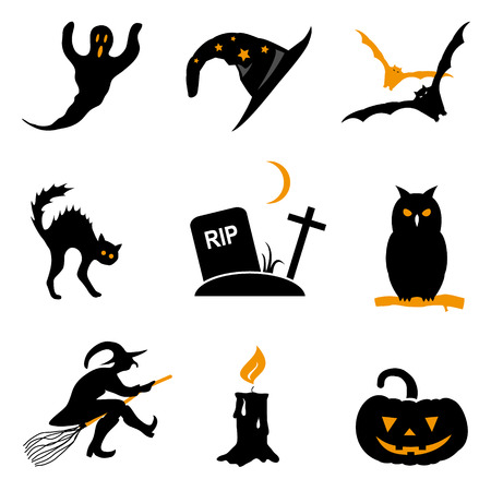 Halloween black and orange vector icon set Vector