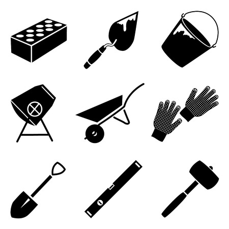 implements: Monochrome vector icon set of building implements