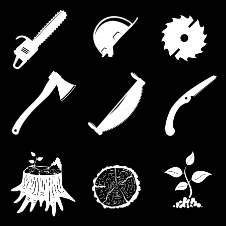 set of icons  woodworking industry  vector illustration  Vector