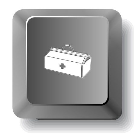 input device: Medical suitcase. Vector computer key. Illustration