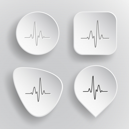 oscillate: Cardiogram. White flat vector buttons on gray background. Illustration