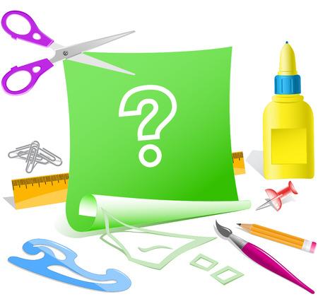 Query. Paper template. Raster illustration. Illustration